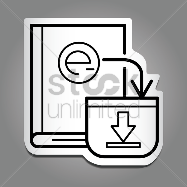 book with download icon vector graphic