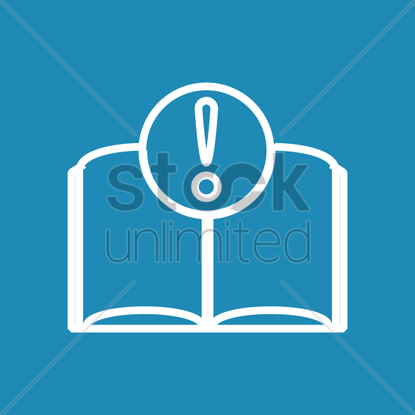 book with exclamation mark vector graphic