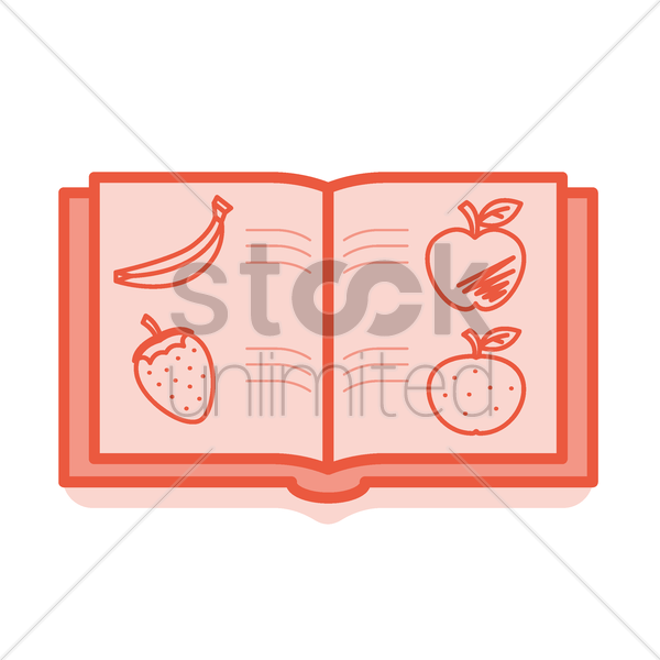 book with fruit icon vector graphic