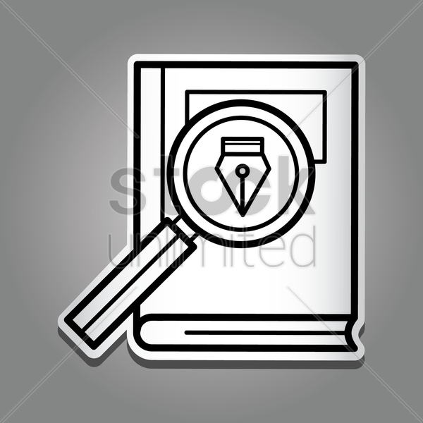 book with magnifying glass vector graphic