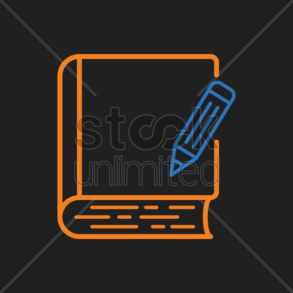 book with pen icon vector graphic