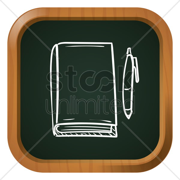 book with pen vector graphic