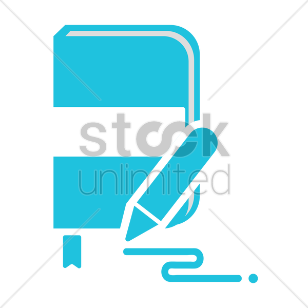 book with pencil vector graphic