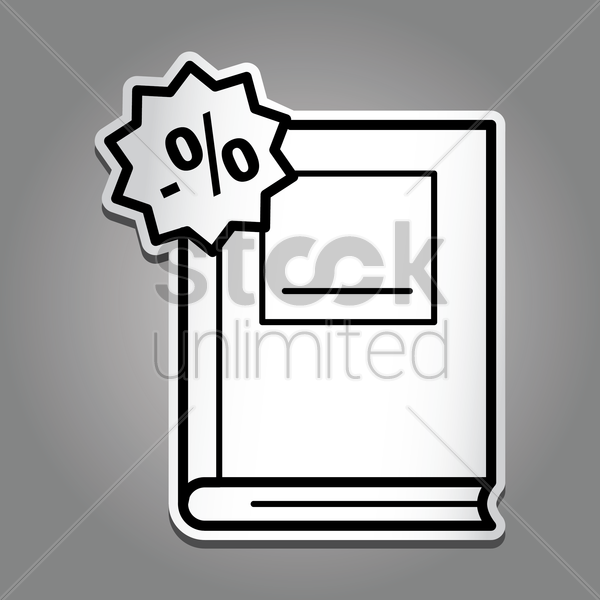 book with percentage icon vector graphic