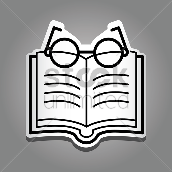book with reading glasses vector graphic