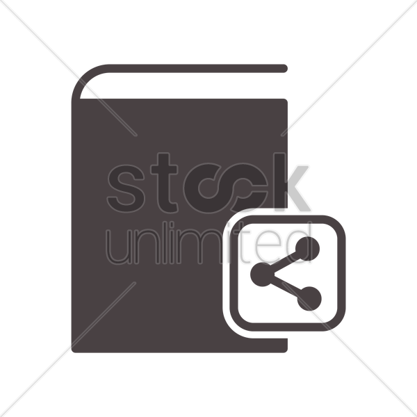 book with share icon vector graphic