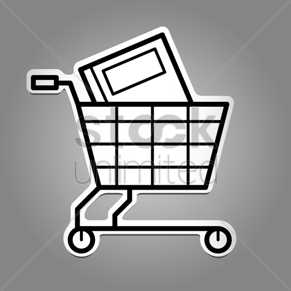 book with shopping cart vector graphic