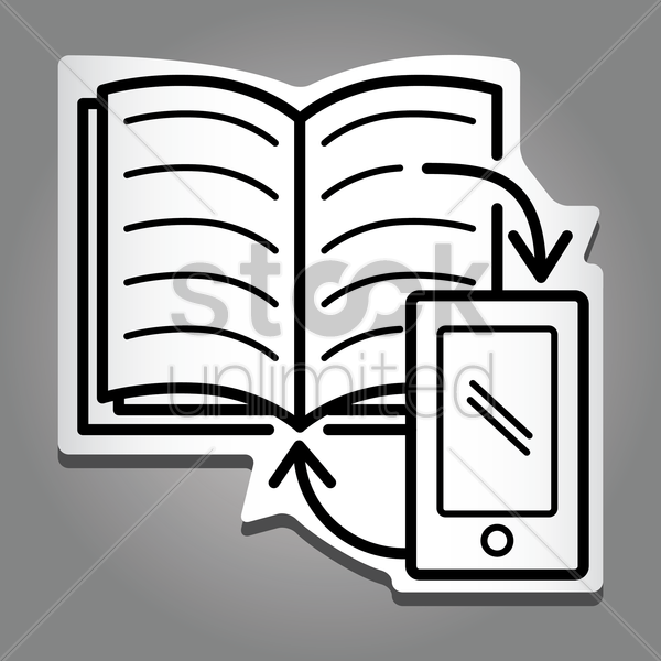 book with smartphone vector graphic