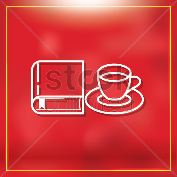 book with teacup vector graphic