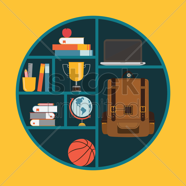 Free bookshelf vector graphic