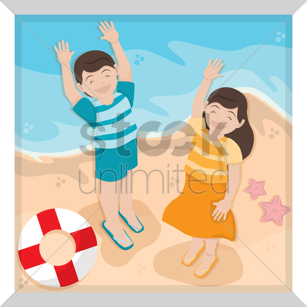 boy and girl playing on beach vector graphic