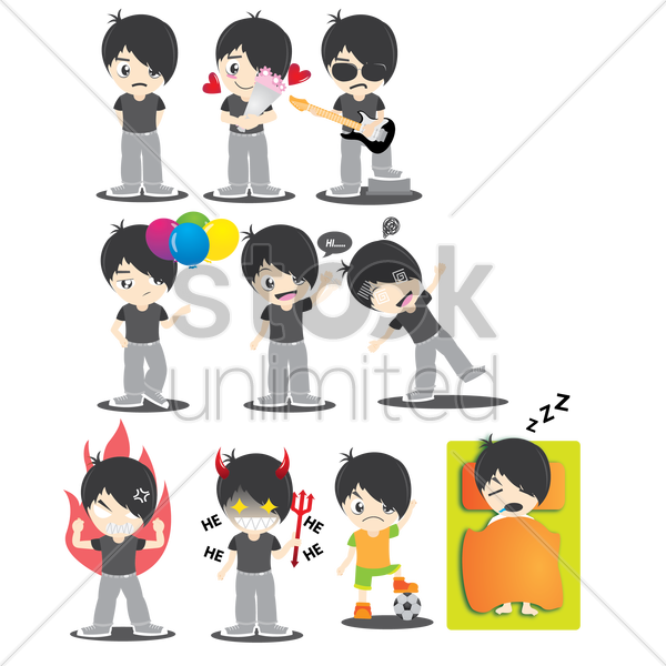 boy character with different actions vector graphic