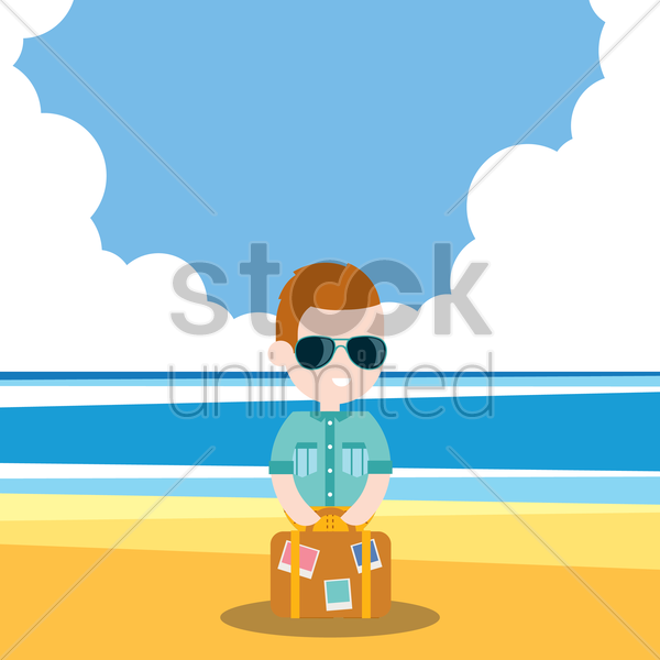 boy holidaying on beach vector graphic