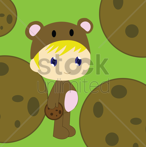 boy in bear costume vector graphic