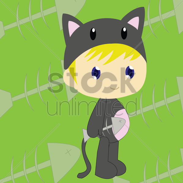 Free boy in cat costume vector graphic