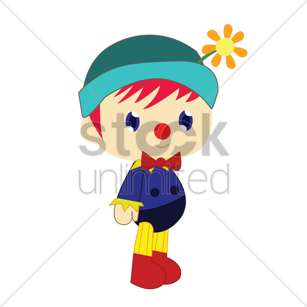 boy in clown costume on white background vector graphic