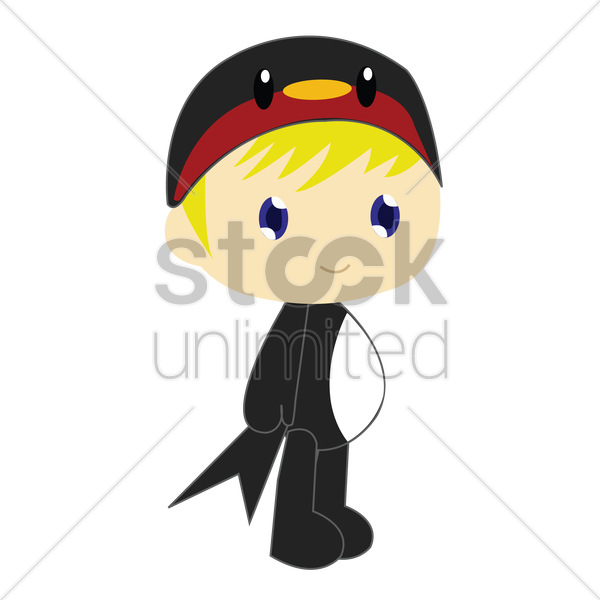 Free boy in crow costume on white background vector graphic