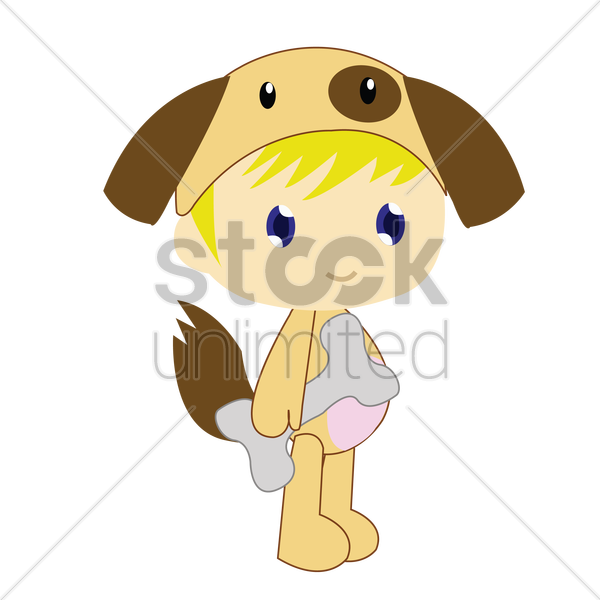 Free boy in dog costume on white background vector graphic