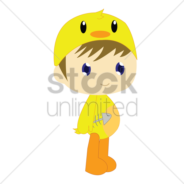 Free boy in duck costume on white background vector graphic