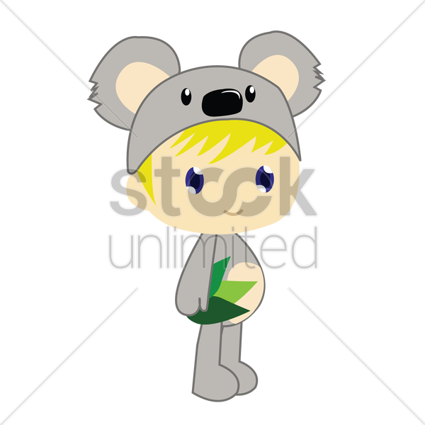 Free boy in koala bear costume on white background vector graphic