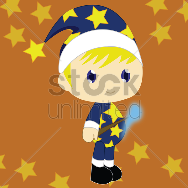 Free boy in magician costume vector graphic