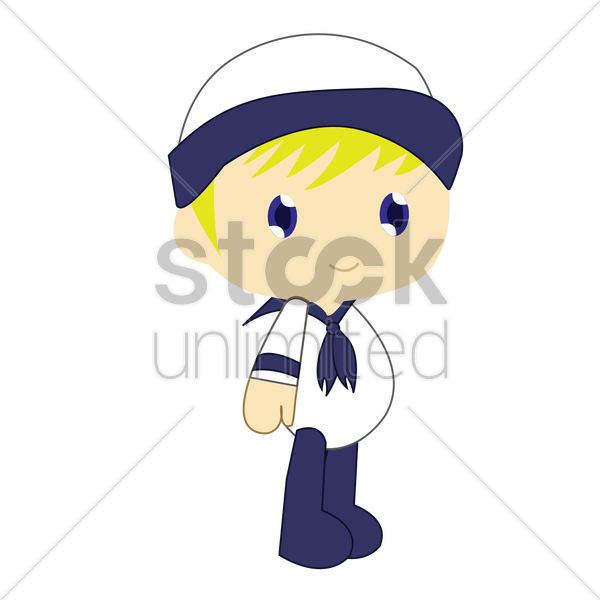 boy in sailor costume on white background vector graphic