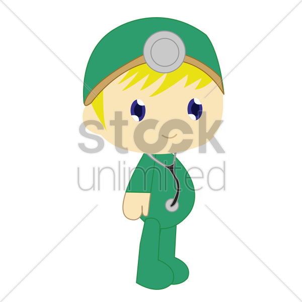 boy in surgeon costume on white background vector graphic