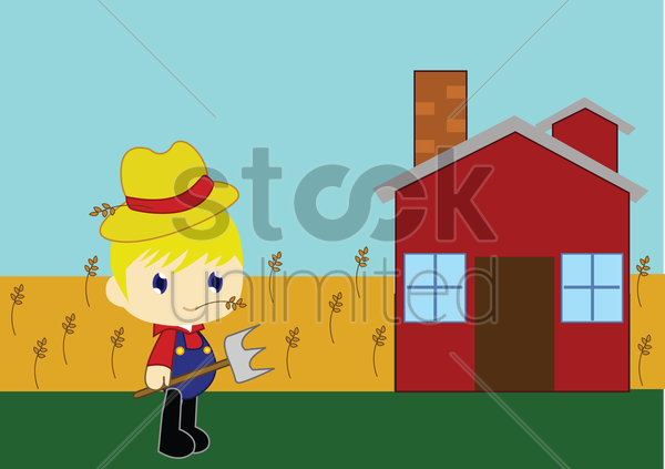 Free boy on a farm vector graphic