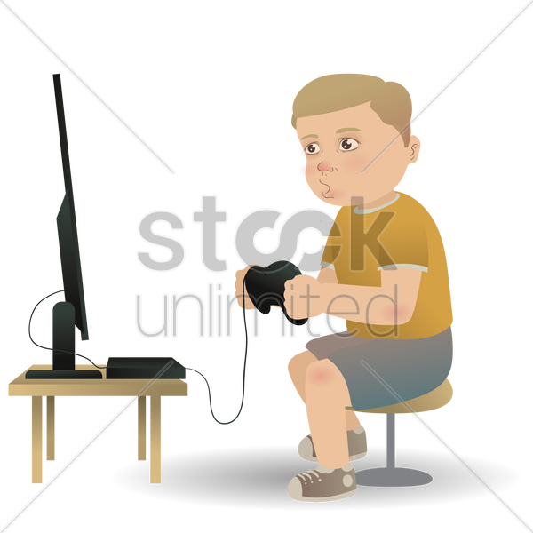 boy playing video game vector graphic