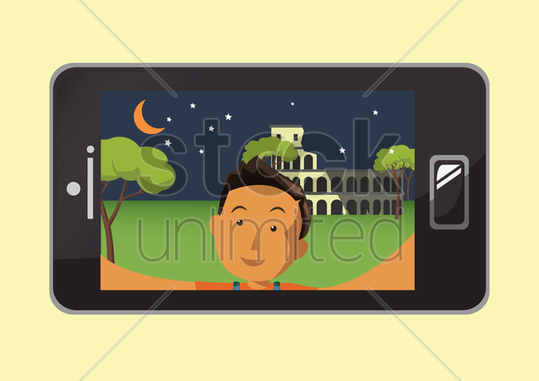 boy taking a selfie vector graphic