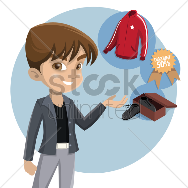 boy thinking about shopping vector graphic