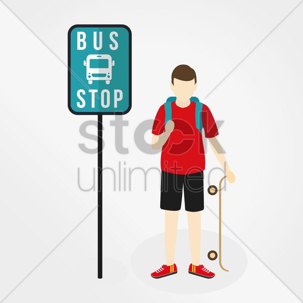 Free boy waiting at bus stop vector graphic