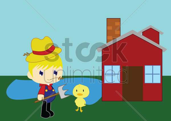 boy with a duck on a farm vector graphic