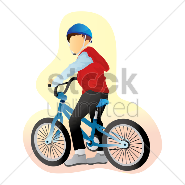 boy with bicycle vector graphic