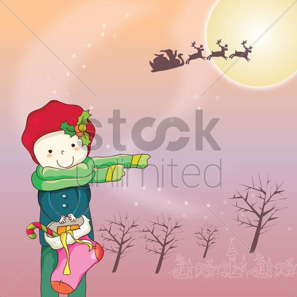 boy with christmas gifts vector graphic