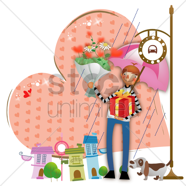 boy with gifts waiting for bus vector graphic