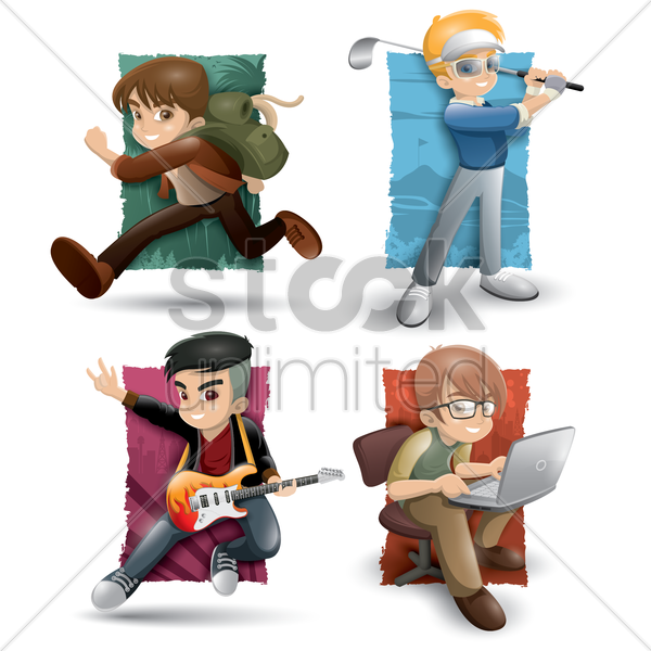boys with different activities vector graphic
