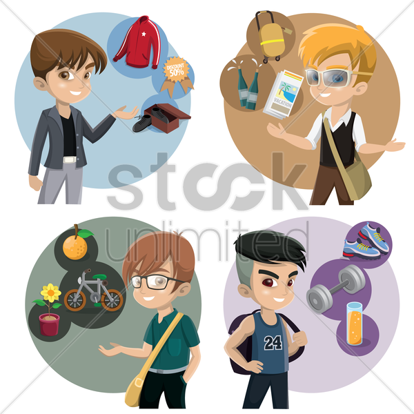 boys with various activities vector graphic