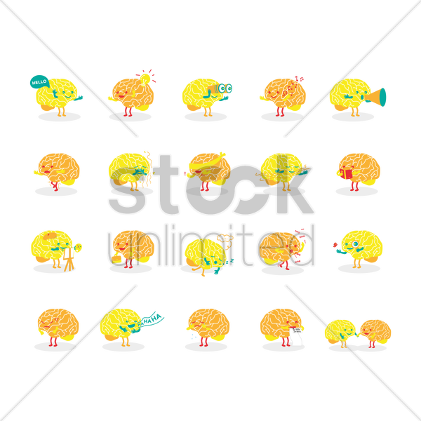 brain character vector graphic