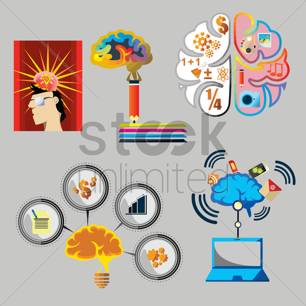 brain collection vector graphic