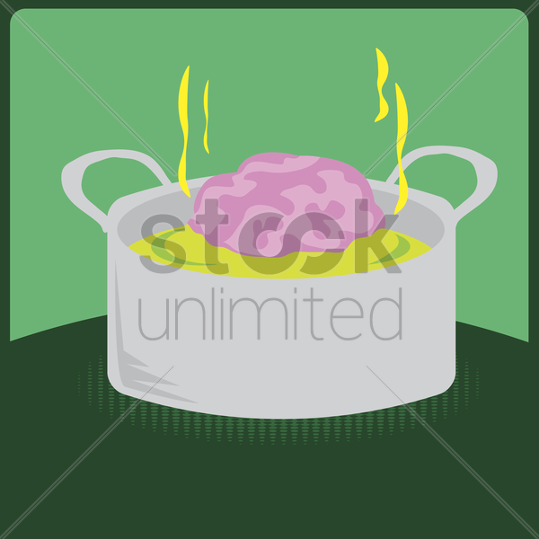 brain cooking in a pot vector graphic
