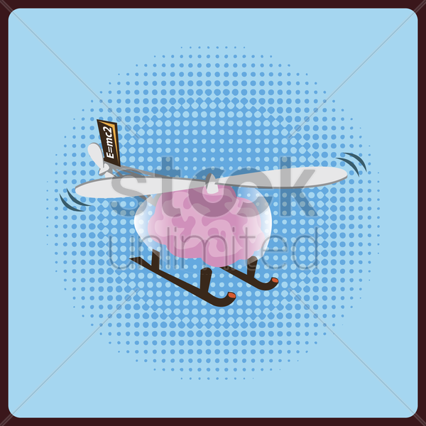 brain flying in helicopter vector graphic