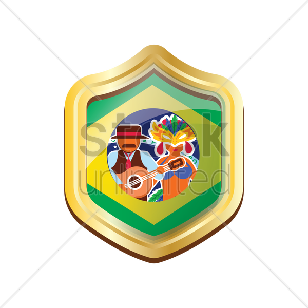 brazil badge with carnival celebration vector graphic