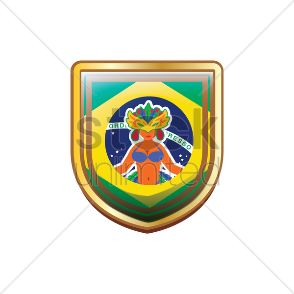 brazil badge with carnival costume vector graphic