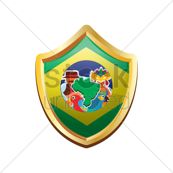 brazil badge with map vector graphic