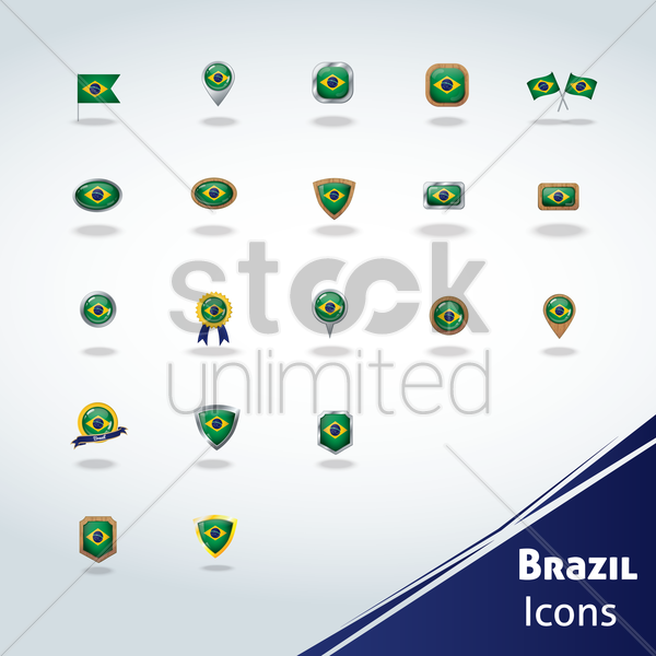 brazil flag icons vector graphic