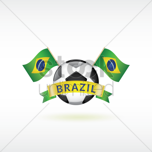 brazil flags with soccer ball vector graphic