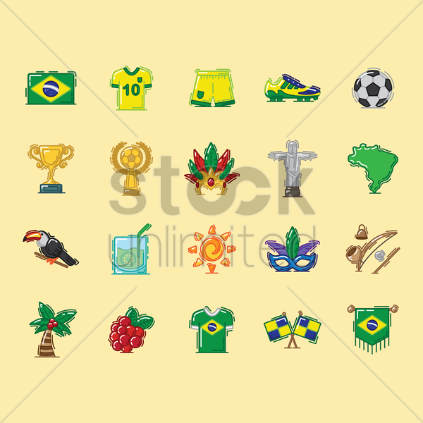 brazil icons set vector graphic