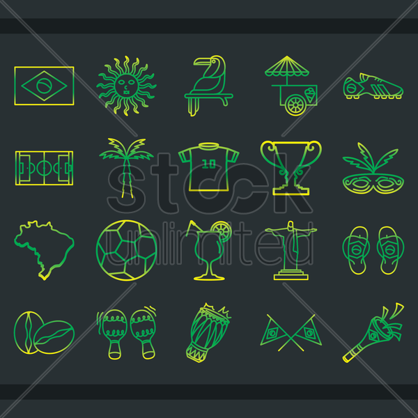 brazil icons vector graphic