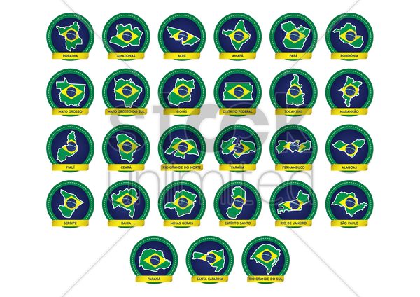 brazil map icons vector graphic